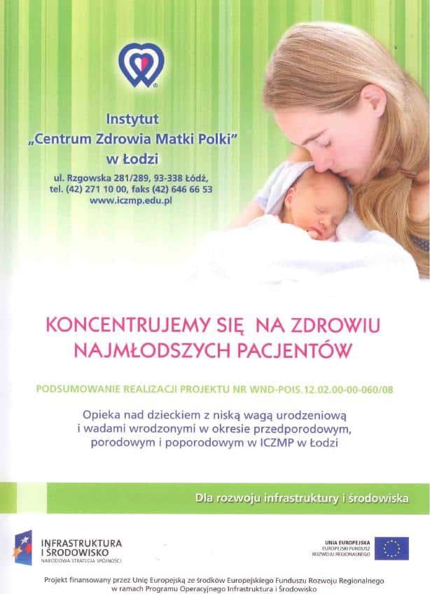 Opieka nad dzieckiem z niską wagą urodzeniową i wadami wrodzonymi w okresie przedporodowym i poporodowym w ICZMP Łodzi