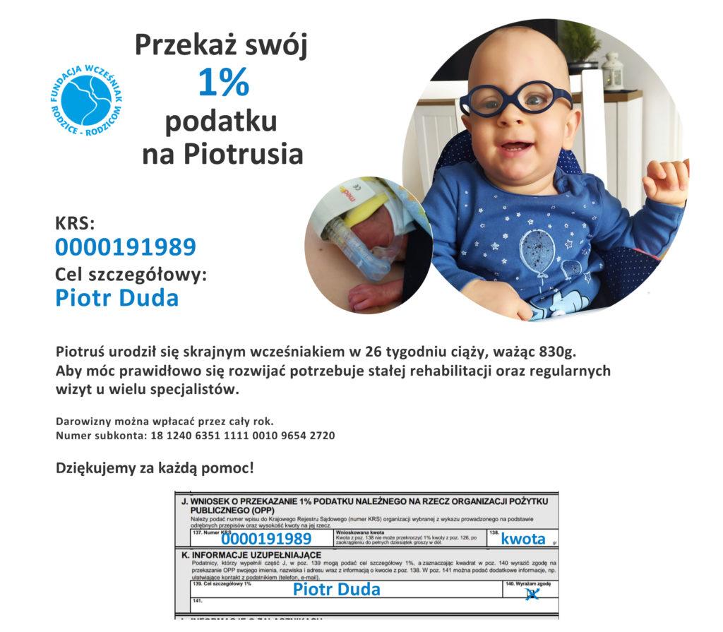Piotr Duda wcześniak 26 tydzień 1% podatku