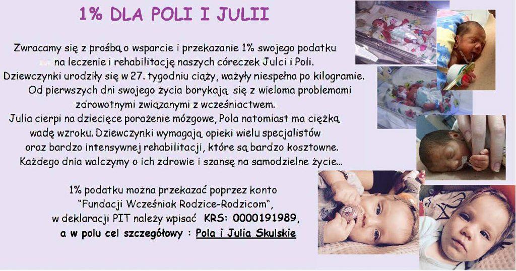 Pola i Julia Skulskie 1 procent podatku wcześniaki