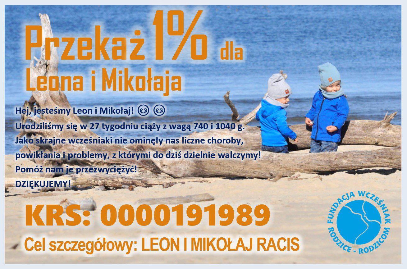 Leon i Mikołaj Racis wcześniaki 1procent podatku